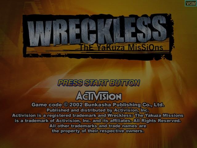 Image de l'ecran titre du jeu Wreckless - The Yakuza Missions sur Microsoft Xbox