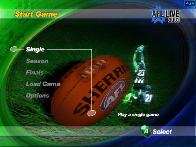 Image du menu du jeu AFL Live 2003 sur Microsoft Xbox
