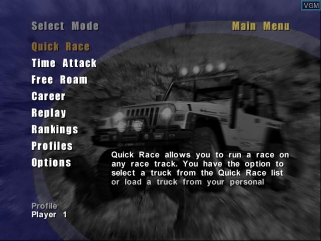 Image du menu du jeu 4x4 EVO 2 sur Microsoft Xbox