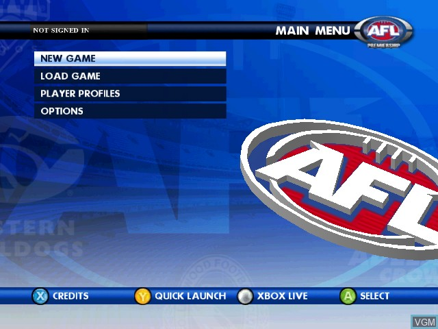 Image du menu du jeu AFL Live Premiership Edition sur Microsoft Xbox