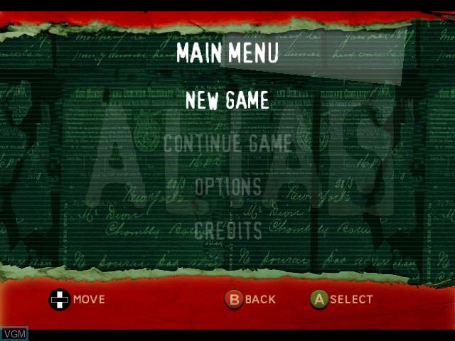 Image du menu du jeu Alias sur Microsoft Xbox
