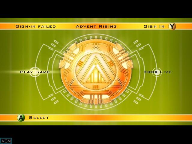 Image du menu du jeu Advent Rising sur Microsoft Xbox