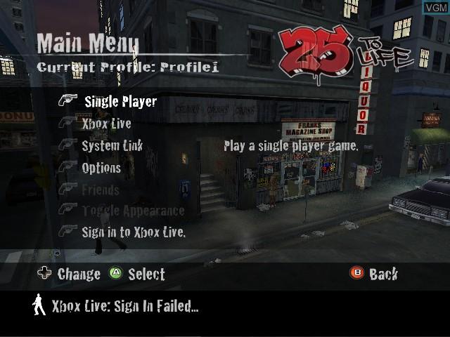 Image du menu du jeu 25 to Life sur Microsoft Xbox