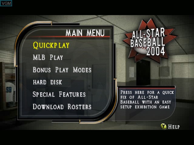 Image du menu du jeu All-Star Baseball 2004 sur Microsoft Xbox