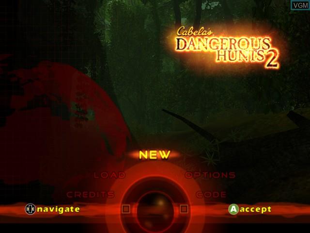Image du menu du jeu Cabela's Dangerous Hunts 2 sur Microsoft Xbox
