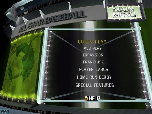 Image du menu du jeu All-Star Baseball 2003 sur Microsoft Xbox