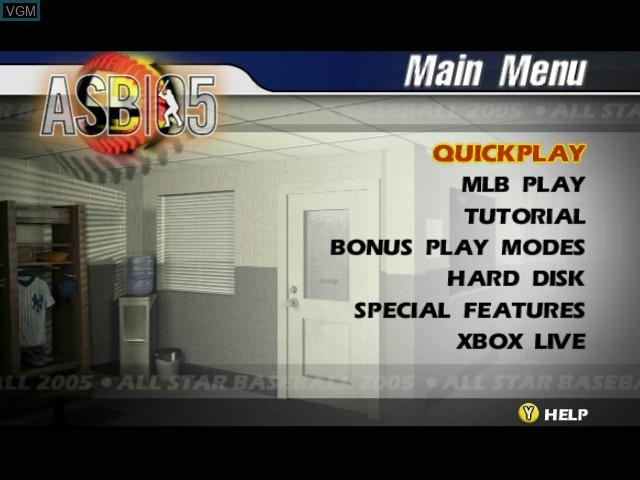Image du menu du jeu All-Star Baseball 2005 sur Microsoft Xbox