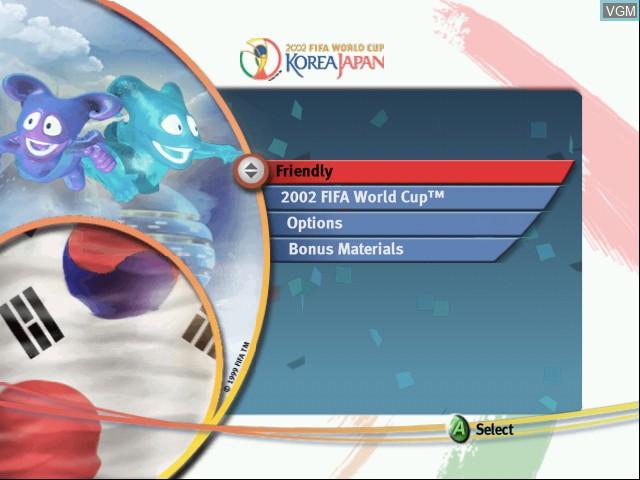 Image du menu du jeu 2002 FIFA World Cup sur Microsoft Xbox