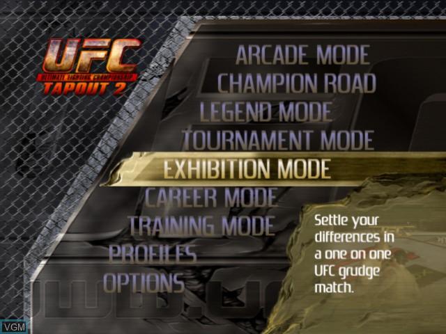 Image du menu du jeu UFC - Tapout 2 sur Microsoft Xbox