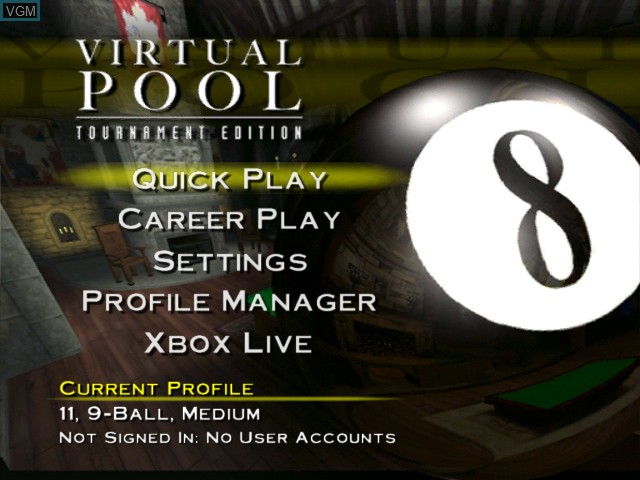 Image du menu du jeu Virtual Pool - Tournament Edition sur Microsoft Xbox