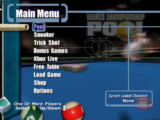 Image du menu du jeu World Championship Pool 2004 sur Microsoft Xbox