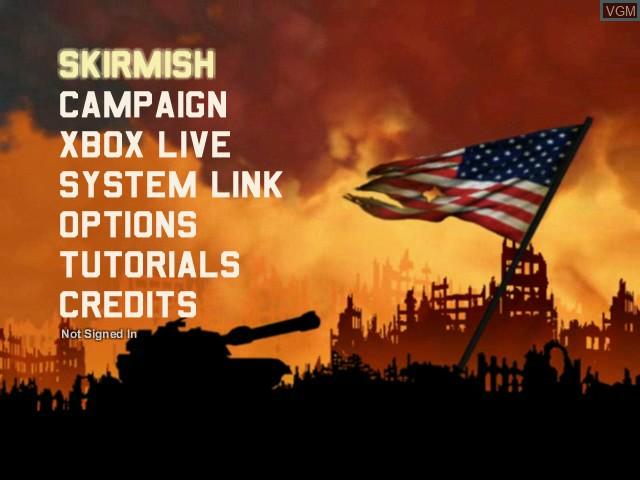 Image du menu du jeu Shattered Union sur Microsoft Xbox