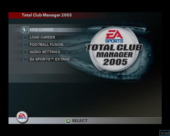 Image du menu du jeu Total Club Manager 2005 sur Microsoft Xbox