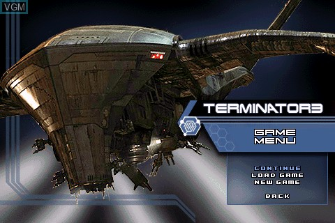 Image du menu du jeu Terminator 3 sur Tapwave Zodiac
