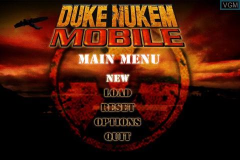 Image du menu du jeu Duke Nukem Mobile sur Tapwave Zodiac